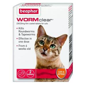 Beaphar Worm Clear - Cat  Worming Tablets - Treats Roundworms & Tapeworms 2 tab