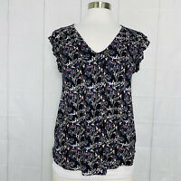 Lucky Brand Women's Small Top Black Blue Pink Floral Ruffle Sleeve #L