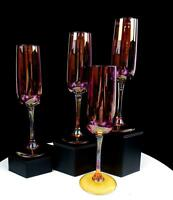 "COLORATI ITALIAN GLASS AMETHYST BOWL AMBER STEM 4PC 8 3/8"" CHAMPAGNE FLUTES"