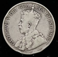 1916 Canada Silver Fifty Cents 50 Cent Coin Canadian Half Dollar