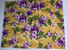 "OOP HTF Hilo Hattie 7"" x 7"" Hawaiian Print Purple/Gold Fabric Squares 20 squares"