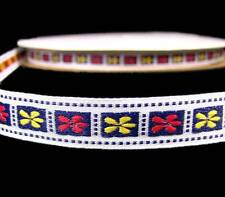 """5 Yds Red Yellow Flowers Blue Stitched Woven Jacquard Ribbon Trim 1/2""""W"""