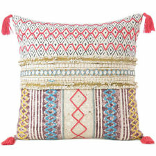 """20"""" Colorful Blue Yellow Pink Decorative Embroidered Boho Fringe Tassel Pillow S"""