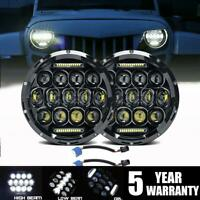 """DOT 7"""" in Round CREE LED Headlights Pair Halo Hi Lo Beam For Hummer H1 H2 H3 H3T"""