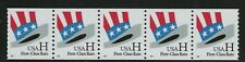 Scott Stamp # 3264, First-Class Rate H rate Uncle Sam's Hat, Coil Strip of 5 MNH