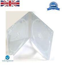 100 CD DVD DOPPIA metà dimensioni SLIM CHIARO 10mm caso con una chiara manica HQ AAA NUOVO