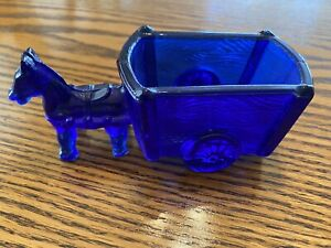 Cobalt Blue Glass Horse And Wagon Master Salt Cellar Dish Dip