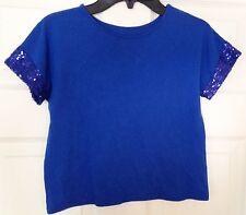"Blue Sequin Size 8-10 32"" Bust Costume Spandex Dance T-Shirt"