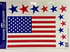 American Flag Window Clings Classic 4th of July USA 12 Piece Clings Reusable