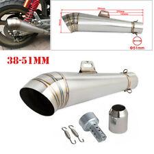 US Universal 38-51mm Motorcycle Exhaust Muffler Pipe w/DB Killer Stainless Steel