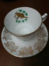 Vintage Staffordshire Canadian Beaver Tea Cup & Saucer Fine Bone China