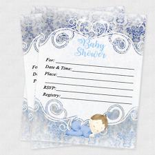 20 Baby Shower Invitations Boy Cards Invites Decorations & Envelopes Baby Boy