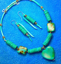 TURQUOISE* MAGNESITE JEWELRY SET + TURQUOISE DEERSKIN LEATHER By NATIVE AMERICAN