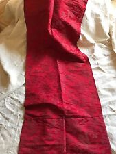 ANTIQUE FRENCH DAMASK PANEL - DEEP RED DAMASK PANEL - CURTAIN - 19TH