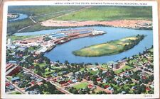 1940s Beaumont, TX Linen Postcard: Aerial Dock View, Turning Basin - Texas