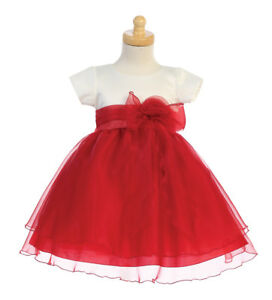 Flower Girls Ivory Satin Red Organza Dress Baby Wedding Christmas Party 516