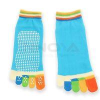Yoga Fitness Grip Excercise Five Toe Socks Rubber Pilates Non Slip Socks Blue