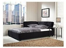Tufted Daybed Full Size Bed Frame with Headboard Padded Reversible Lounge Black