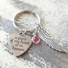 "2017 NEW ""A Piece Of My Heart Is In Heaven"" Heart Charm Wing Charm Keyring UK"