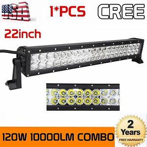 "22"" 120W LED Spot Flood Work Light Bar for JEEP Ford GMC Offroad Fogs Truck 24"""