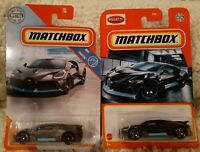2020 & 2019 Matchbox 2018 Bugatti Divo Lot of 2 grey and black