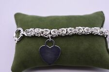 """8"""" Verona Square Byzantine Link Bracelet with Heart Toggle Ster Silver QVC"""