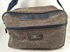 JORDACHE Brown Tweed w/Black Leather Carry-On Overnight Tote w/Shoulder Strap