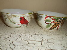 4- 222 Fifth HOLIDAY WISHES Dinner Soup Bowls Christmas Cardinal Poinsettia