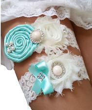 Tiffany Blue Wedding Garter Set w/ Pearl Rhinestone Bow Lace Vintage Prom S10