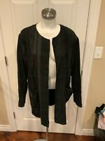 The Fisher Project Black Striped Open Front Jacket, Size Large