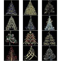 12 CHRISTMAS TREE-   EMBROIDERED QUILT BLOCKS-SET 3