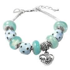 De Buman Lake Blue Glass & Enamel Beads Charm Bracelet, 6.7''+1.18'' extender