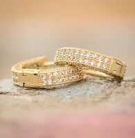 Mens Small Fully Iced Lab Simulated Diamond Gold Sterling Silver Hoop Earrings