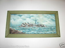 Lighthouse on Island oil painting Lucille Stoll signed 1984 FREE SHIPPING
