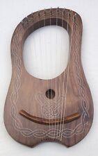 Lyre Harpe 10 Cordes Naturel Bois Sheesham Gratuit Housse De Transport+touche/