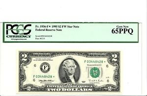 $2 DOLLARS 1995  FEDERAL RESERVE STAR  NOTE  LUCKY MONEY VALUE $300