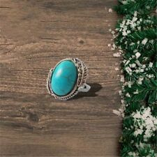 Personalized Vintage Silver Glamour Turquoise Men Women Diamond Ring Gift Size 6