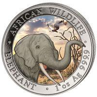 1 ONZA Somalia Elefante 2018 PLATA 999 MONEDA DE 100 SH color tagdesign Día