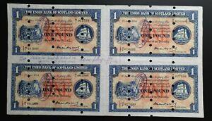 Union Bank Of Scotland £1 1954 Printers Proof SPECIMEN EF Banknote UNCUT Sheet 4
