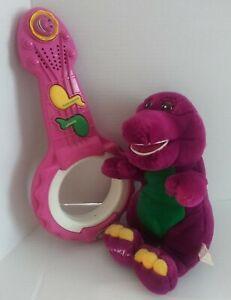VTG 1997 PLAYSKOOL BARNEY AIR GUITAR BANJO MUSICAL TOY + Talking Plush Dinosaur