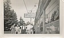 Four People at Baseline Frozen Food Locker-Groceries Photo 1940s