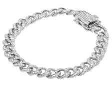 Men's 10K White Gold Real Diamond Miami Cuban Link Bracelet 4 CT 11MM 8""