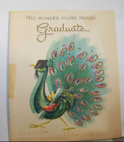 Vintage Greeting Card Wishing Well Proud As Peacock Graduate Wonder Bird Nice