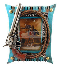 "Rustic Western Wooden Turquoise 4 x 6"" Picture Frame Pistol Rope Studs"