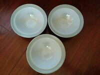 3 RARE Vintage JOHNSON BROS  STONEWARE GRAY GREEN SUNFLOWER CEREAL BOWLS