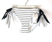 Roxy, Women's Summer Delight, White/Black Stripes, Bikini Bottom, Size M