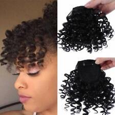 Afro Curly Haar Pony Gelockt Bangs 100 % Echthaar Clip in Fringe Haarteil Bangs