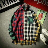 Flannel Plaid Shirt Men Spring Long Sleeve Vintage Soft Japanese Plaid Patchwork