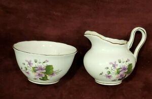 Regency England Bone China Creamer & Sugar Purple Flowers