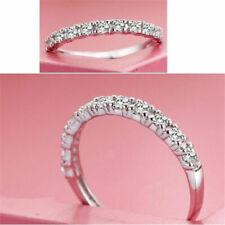 Fashion 925 Silver White Sapphire Birthstone Band Ring Wedding Women Jewelry New